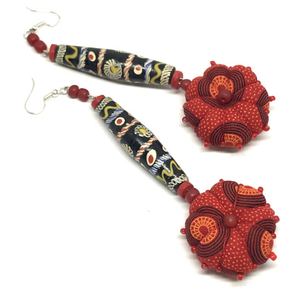 Earrings made from shweshwe