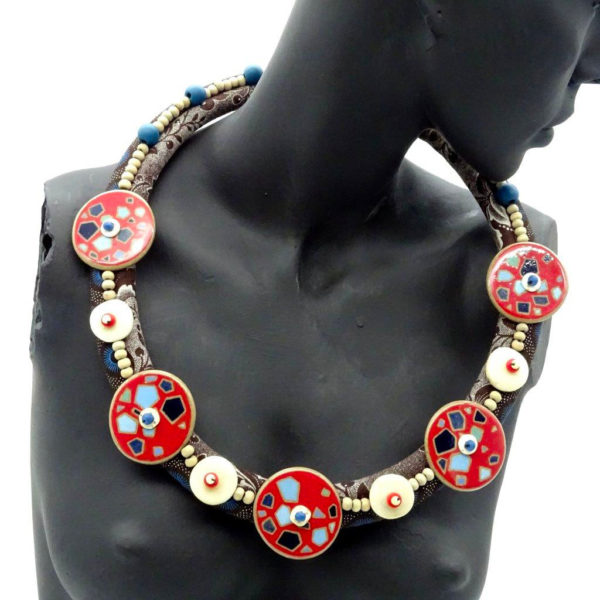 Beaded textile necklace