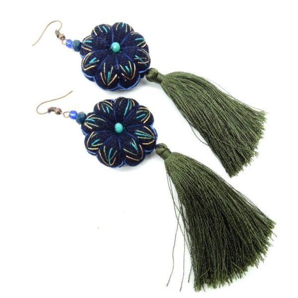 tribal textile earrings